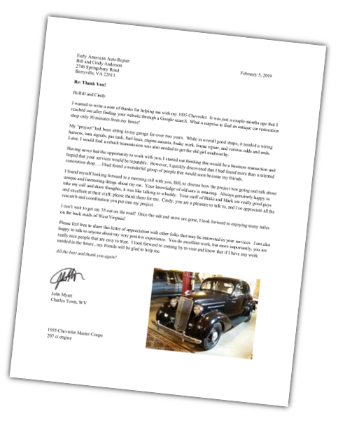 Early American Auto Recognition Letter